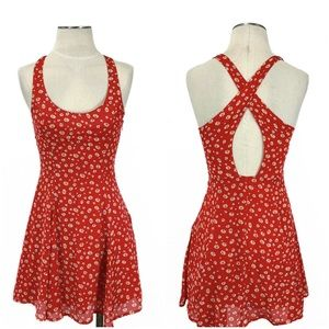Lucca Couture- Red Floral Cross Back Dress XS